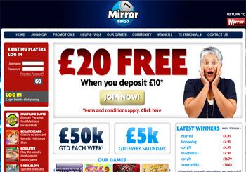 20 free with mirror bingo mirrorbingo review for Mirror bingo